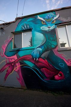 New Westminster Nasimo Graffiti Cat Mural by Kyle Bailey - Da Big Cheeze,