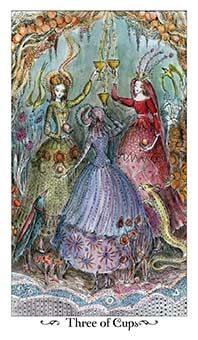 June 30 Tarot Card: Three of Cups (Paulina deck) This is a wonderful time of celebration, luck, and happiness. The world is flourishing around you now