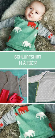 Nähen für Babys: DIY-Anleitung für ein kuscheliges Schlupfhirt / how to sew a cute shirt for babys via DaWanda.com