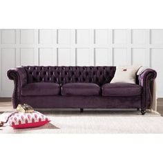Amazing offer on Snyder Chesterfield Rolled Arm Sofa online - Looknewclothing Sofa Upholstery, Fabric Sofa, Chesterfield Style Sofa, Faux Leather Fabric, Leather Sofa, 7 Piece Dining Set, Best Sofa, Tufting Buttons, Toss Pillows
