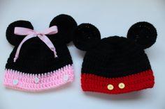 #Crochet mickey and minnie Disney Inspired beanies