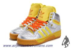 Authentic Adidas Attitude Logo Double Heart Tongue Shoes Silver Yellow For Wholesale