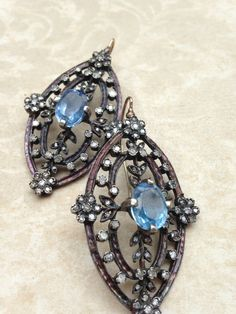 Victorian Inspired 2carat DIAMOND EARRINGS Sterling Silver over Gold w sapphire gorgeous feminine Floral Large Chandelier Earrings Antique