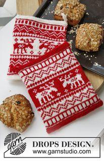 """Agarradores de ollas/cazuelas DROPS, para Navidad, tejidos con patrón de jacquard noruego, en """"Muskat"""". ~ DROPS Design"""