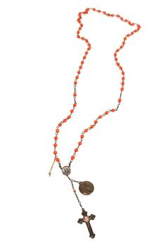 Kimme Winter, Coral Bead Crowned Jesus Necklace available at Forty Five Ten. via @Forty Five Ten