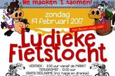 Op zondag 19 februari 2017 a.s. wordt dit tafereel werkelijkheid - dan start om 11.00 uur vanaf de Markt de jaarlijkse Ludieke Fietstocht van CV de Kuussegatters.