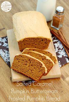 Salted Caramel Pumpkin Buttercream Frosted Pumpkin Bread Recipe l www.a-kitchen-addiction.com