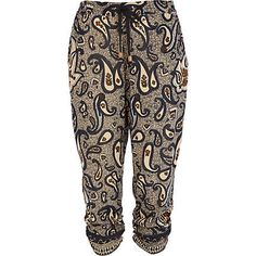 Blue paisley print ruched hem crop trousers - cropped trousers / joggers - trousers - women