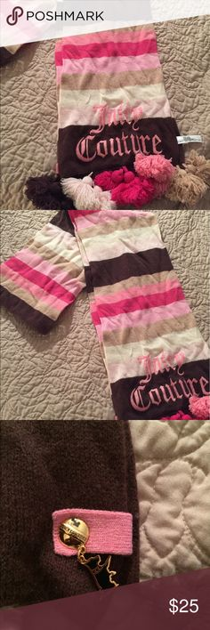 Authentic Juicy Couture scarf. Beautifully colored Pink, beige, brown and hot pink Juicy Couture scarf. This scarf measures 88 inches long in total. Juicy Couture Accessories Scarves & Wraps