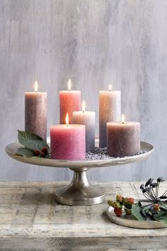 Candle collection by Candle Tray, Pillar Candle Holders, Candle Lanterns, Diy Candles, Scented Candles, Pillar Candles, Candle Arrangements, Candle In The Wind, Deco Floral