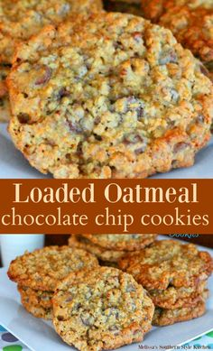 When oatmeal, chocolate chips and cookies collide the outcome could only be sheer bliss. These jumbo Loaded Oatmeal Chocolate Chip Cookies . Oatmeal Chocolate Chip Cookie Recipe, Chocolate Cookies, Loaded Oatmeal Cookies Recipe, Rolled Oats Recipe, Baking Chocolate, Chocolate Chip Banana Bread, Mini Chocolate Chips, Crinkle Cookies, Cream Cookies