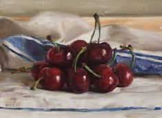 Cherries on a french cloth - Postcards from Provence, daily paintings. Julian Merrow Smith