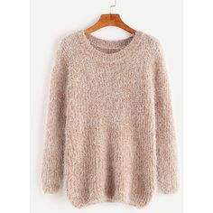 Khaki Drop Shoulder Fuzzy Sweater (€18) ❤ liked on Polyvore featuring tops, sweaters, fuzzy sweater, drop-shoulder tops, longer sweater, round top and khaki sweater
