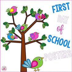 First Day of School Posters (Canadian and American Versions) This set of bright posters is a perfect way to commemorate the first day of school with your students! They feature fun bright bird clip art! I like to have students hold the poster while I take their picture.