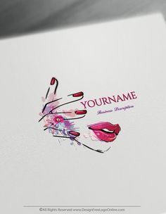 Custom Logo Maker, Nail Logo, Free Logo Generator, Feminine Symbols, Makeup Artist Logo, Logo Templates, Design Templates, Beauty Logo, Create A Logo