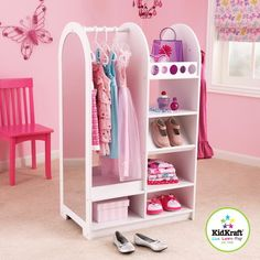 New Wooden Closet Shelf System Girls Play Dress Up Storage Set Age 3+
