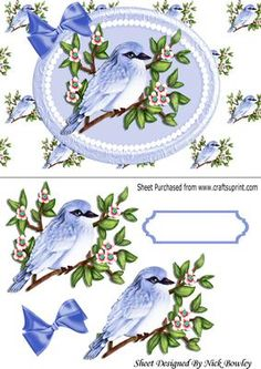 Pretty bluebird on a branch with flowers in pearl frame on Craftsuprint - Add To Basket!