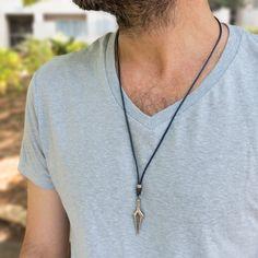 Men's Necklace Men's Silver Necklace Men's | Etsy Mens Leather Necklace, Mens Chain Necklace, Mens Silver Necklace, Leather Men, Pendant Necklace, Leather Cord, Swarovski Crystal Necklace, Minimalist Necklace, Silver Man