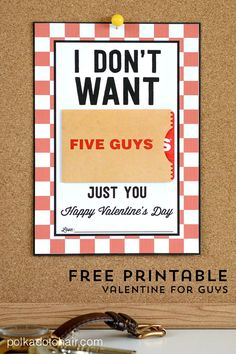 """A free """"punny"""" Valentine Gift Card Printable for the guy in your life!"""