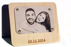 Third anniversary gift photo engraved on real leather wedding 3rd anniversary family photo in leather anniversary gift 3 year marriage gift