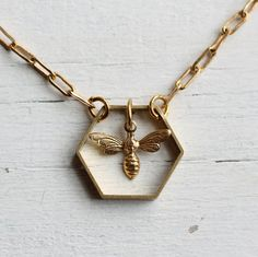 Bee Hive Necklace ... Honey Bee Honeycomb by SilkPurseSowsEar