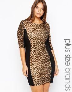 Club L Plus Size Midi Dress With Leopard Print Panel - multi