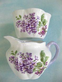Rare vintage Shelley China Lilac cream and sugar set - England.