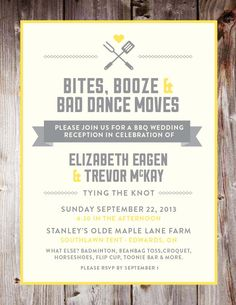 "BBQ Wedding Reception Invite ""BBQ, booze, and bad dance moves"""