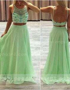 Modern Scoop Beading A-line Long Mint Two-pieces Prom Dress