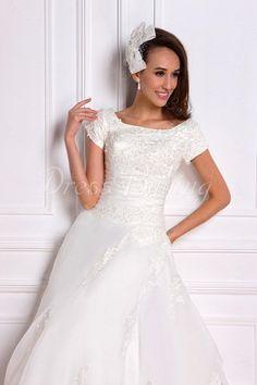 Luxurious A-line/Princess Square Short-Sleeve Chapel Appliques Renata's Wedding Dress