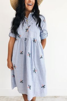 Embroidered Blue + White Dress | ROOLEE