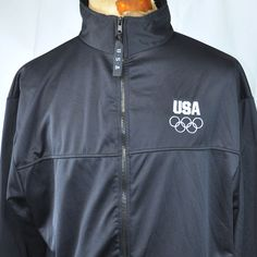 417fc1b1b2cb Olympic Committee USA Embroidered Zip Sweatshirt 2XL XXL Mens Navy Blue USA  Made  UnitedStatesOlympicCommittee