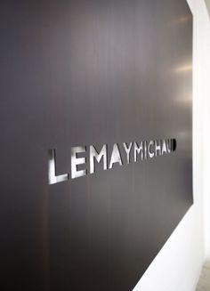 :: heart :: the signage detailing of logo wall, simple steel feature wall: