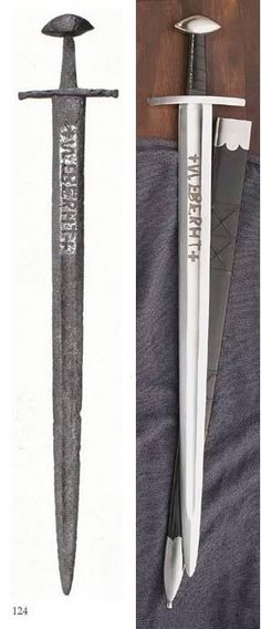 This image contains a side-by-side comparison between an authentic and reproduction of the Ulfberht sword. Produced by an unknown process for a two-hundred year period, these swords stood far superior in quality to others of the same era. As such, the mystery and prestige of these weapons inspires that held by the blades in the legends of the Anglo-Saxons and the Vikings.