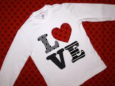 I LOVE Valentine's Day Kids Shirt by wigglesandgiggles1 on Etsy, $24.00