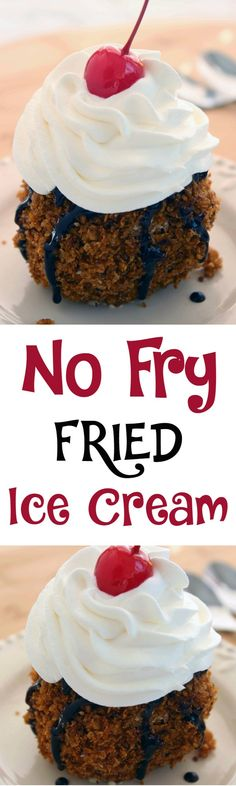 No Fry Fried Ice Cream Dessert :: The next time you want to gather your kids together to make an easy dessert recipe that is fun, unique and completely delicious full of flavor!