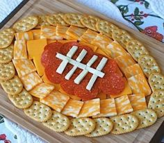 crackers and cheese easy football