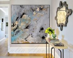 45inch, Gold Leaf Print of Original  Watercolor Painting, Modern Prints, Pastel, Teal and Gold Decor, Gold and Black, Contemporary Wall Art