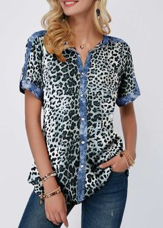 b0cc200a Roll Tab Sleeve Split Neck Leopard Print Blouse Stylish Tops For Girls,  Trendy Tops For