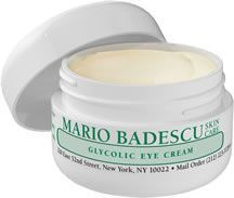 Glycolic Eye Cream from Mario Badescu Skin Care via mariobadescu.com- I am using a Gycolic Peel from Naturopathica for my face.. This could be cool around the eye area!