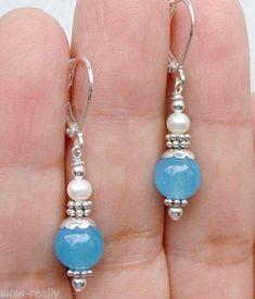 Pretty-Blue-Jade-White-Freshwater-pearl-Sterling-Silver-Dangle-Earrings