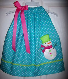Corduroy Snowman Pillowcase Dress Christmas Holiday by molliepops, $29.00