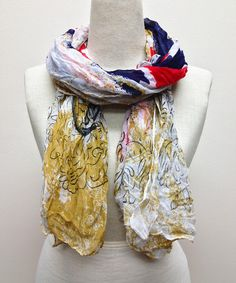 Another great find on #zulily! Red & Tan Abstract Filigree Scarf by TROO #zulilyfinds