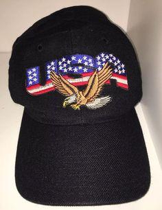 Black USA Bald Eagle Soft Baseball Cap Mens Headwear Velcro Strap From  Genesis 7bfe3119f99f