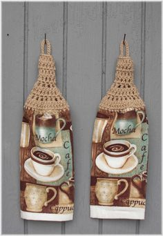 Hanging Kitchen Towels Coffee Matching Pair by DebbieCrochets, $8.00