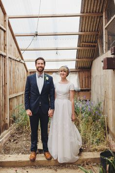 greenhouse wedding portrait, photo by LM Weddings http://ruffledblog.com/sweet-wedding-in-the-english-countryside #weddingideas