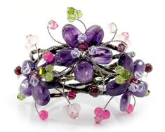 MGD Purple Floral Flowers Cuff Bracelet from Amethyst Peridot and Rose Quartz and Swarovski Crystals Adjusable Wrap Bracelet Beautiful Handmade Fashion Jewelry for Women Teens Girls * Click image for more details. (This is an affiliate link) Fashion Jewelry, Women Jewelry, Cuff Bracelets, Link Bracelets, Purple Amethyst, Floral Flowers, Peridot, Rose Quartz, Swarovski Crystals