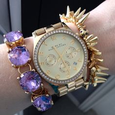 Gold spikes and purple crystal dot bracelet
