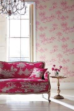 Toile de Jouy was a very classic pattern used in Britain and France in the for fabrics for upholstery and curtains mainly, in the years it also became Decor, Furniture, House Design, Room, Pink Room, Pink Decor, Home Decor, House Interior, Interior Design