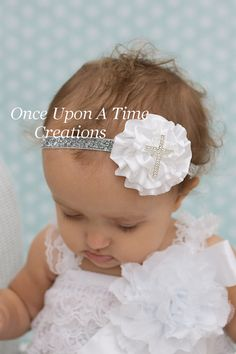 White and Silver Cross Satin Flower Sparkle Headband - Newborn Baby Baptism Hair Bow - Little Girl Christening Hairbow - Christmas Church   http://www.etsy.com/listing/164787018/white-and-silver-cross-satin-flower?ref=sr_gallery_17&ga_search_query=baby+girl+outfit&ga_view_type=gallery&ga_ship_to=US&ga_page=231&ga_search_type=all